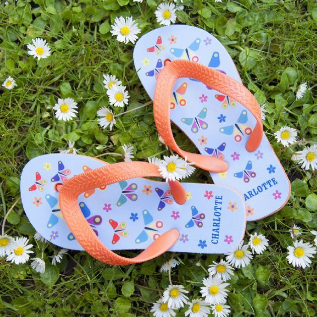 Fluttering Butterfly Child's Personalised Flip Flops